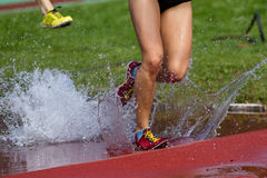Steeplechase. Runners in steeplechase in track and field Royalty Free Stock Image