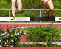 Steeplechase. Runners in steeplechase in track and field Royalty Free Stock Images