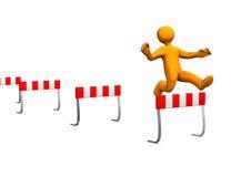 Steeplechase 2. Orange cartoon characer runs a steeplechase Royalty Free Stock Photos