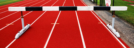 Steeplechase barrier on a track Stock Photo