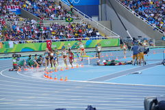Steeplechase competition at Rio Olympics. 3000m women`s steeplechase competition at Rio Olympics. Photo taken on: Aug 13th, 2016 Royalty Free Stock Photo