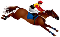 Steeplechase race horse jumping. Jump racing or National Hunt racing, Equestrian Sport horse and Rider realistic vector illustration Stock Images