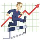 Steeplechase run. Illustration of the businessman running steeplechase on the business graph background Royalty Free Stock Photo