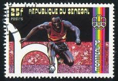 Steeplechase. SENEGAL - CIRCA 1976: stamp printed by Senegal, shows Steeplechase, circa 1976 Stock Photo