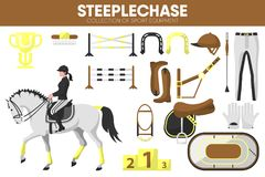 Steeplechase sport equipment horse racing rider garment accessory vector icons set. Steeplechase sport equipment and horse jump racing rider clothing garment or Stock Photos