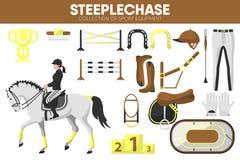 Steeplechase sporta wyposażenia wyścigi konny jeźdza szaty akcesoryjne wektorowe ikony ustawiać Zdjęcia Stock