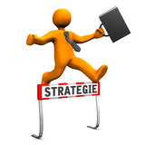 Steeplechase Strategy. Orange cartoon character as businessman and german text strategie translate strategy Royalty Free Stock Photography