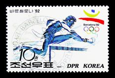 Steeplechase, 1992 Summer Olympics, Barcelona (I) serie, circa 1. MOSCOW, RUSSIA - MARCH 18, 2018: A stamp printed in Democratic People's Republic of Korea shows Stock Image