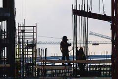 Steeplejack workers on construction Royalty Free Stock Image