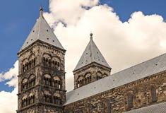 Steeples собора Лунда Стоковое фото RF
