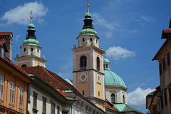 Steeples and Cathedral. Ljubljana. Slovenia Royalty Free Stock Photos