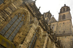 Steeples of the Dom in Magdeburg Stock Images