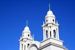 Steeples elaborati della chiesa Fotografie Stock Libere da Diritti