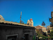 Steeples in the old town of Corfu Stock Images