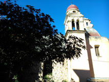Steeples in the old town of Corfu. In Dionisiou Solomou street Royalty Free Stock Images