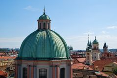 The steeples in Prague Stock Photography