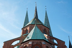 Steeples of St. Mary's Church in Luebeck, Germany Stock Images