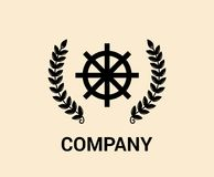 Maritime steer logo. Steer chain boat ship ocean sea water maritime transportation sail nautical object equipment property collection Royalty Free Stock Photo