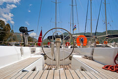 Steer and compass. On sailing boat royalty free stock images