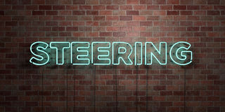 STEERING - fluorescent Neon tube Sign on brickwork - Front view - 3D rendered royalty free stock picture Royalty Free Stock Images