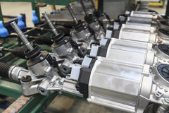 Steering Gears. In a row in a factory Stock Images