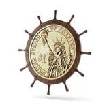 Steering ship wheel  with dollar coin Stock Photos