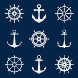 Steering ship wheels and anchors icons. Naval navigation vector signs Royalty Free Stock Images