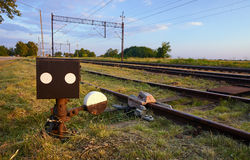 The steering station and tracks with electric traction Royalty Free Stock Photography