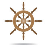 Steering vessel wooden. Steering wheel and ship steering. Vector illustration Stock Photos