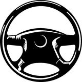 Steering wheel. Clip art illustration of a black and white steering wheel Stock Photography