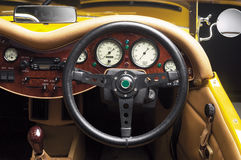 Steering Wheel. An antique car's steering wheel with front dashboard royalty free stock images