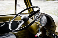 Steering wheel. Old truck of the salvation army Royalty Free Stock Images