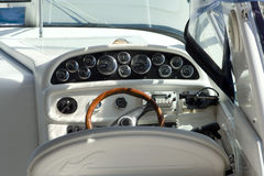 Steering wheel. Of modern engine boat, close up Stock Photo