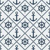 Steering wheel and anchor seamless pattern Royalty Free Stock Image