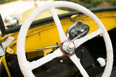 Steering wheel antique car Royalty Free Stock Photography