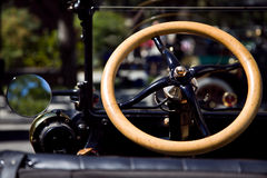 The Steering Wheel of an Antique Vehicle Stock Photography