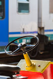 Steering wheel of a baggage carrier cart Stock Images