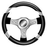 Steering wheel. Black & aluminum color Steering wheel illustration Royalty Free Stock Image