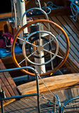 Steering wheel on boat Royalty Free Stock Image