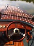 Steering wheel on boat. Royalty Free Stock Photo