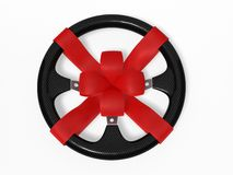 Steering wheel with a bow Royalty Free Stock Photography