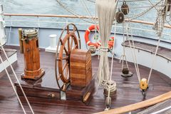 Steering wheel for captain on an old sailboat. Sines Portugal. Steering wheel for the captain on an old sailboat. Sines Portugal Stock Image