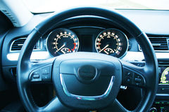 Steering wheel in car Royalty Free Stock Images