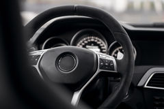 Steering wheel in car interrior mercedes-benz Stock Photo
