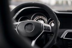 Steering wheel in car interrior mercedes-benz Stock Photo