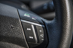 Steering wheel in the car Royalty Free Stock Photos