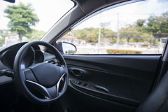Steering wheel in the car Royalty Free Stock Photography