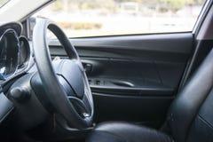 Steering wheel in the car Stock Photos