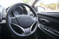 Steering wheel in the car Royalty Free Stock Photo