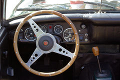 Steering wheel of classic MG Stock Photography